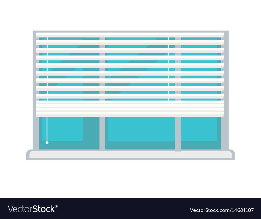 Plastic Window With White Half Mast Blinds Vector Image