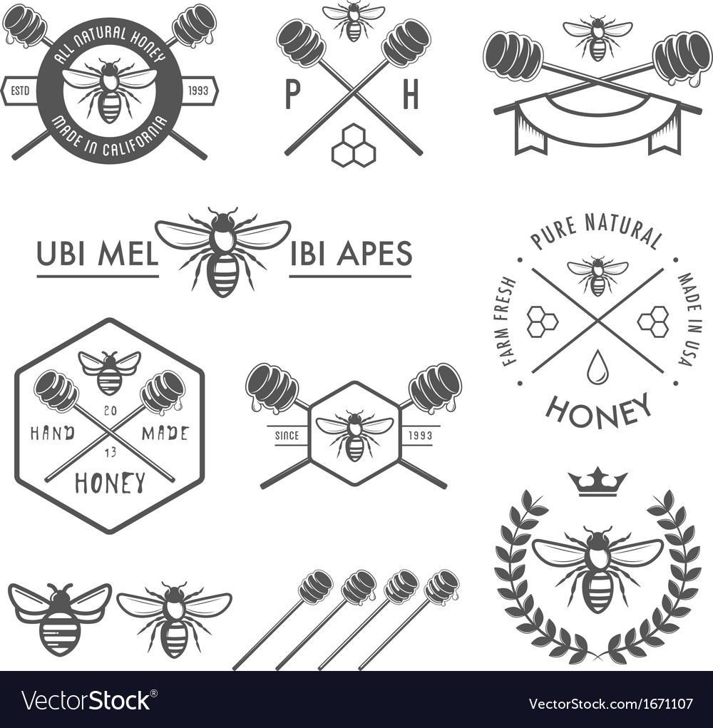 Set of vintage honey labels and design elements vector image