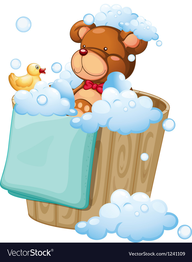 A bear taking a bath vector image