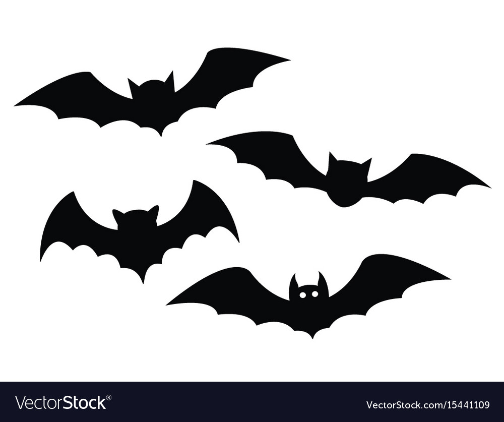 Black bats set on a white background vector image
