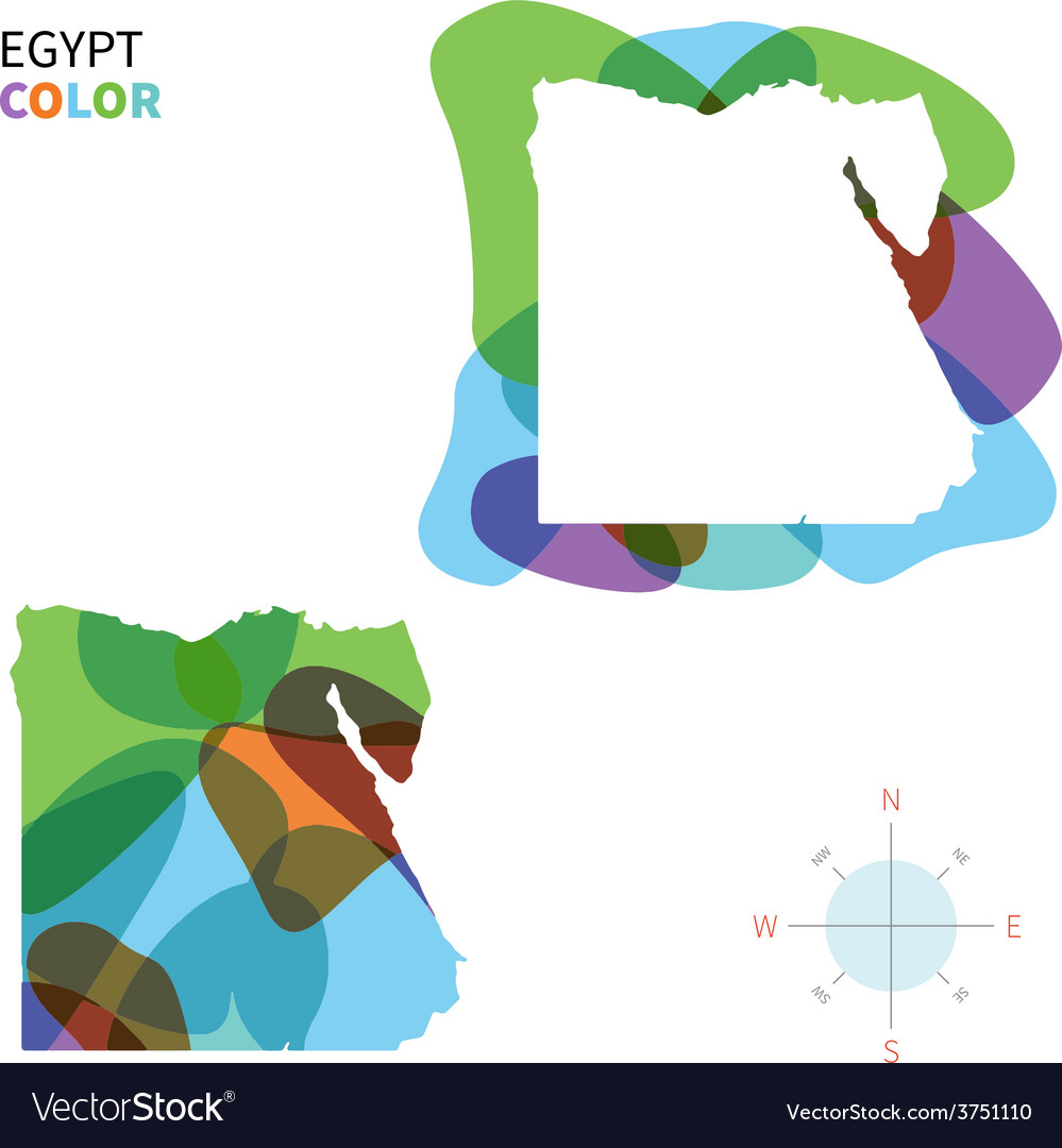 Abstract Color Map Of Egypt Royalty Free Vector Image - Map of egypt vector free