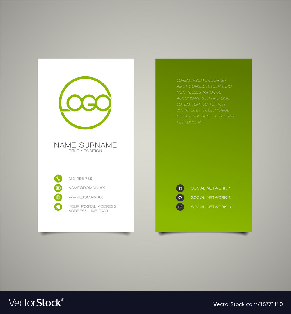 Modern Simple Vertical Business Card Template Vector Image - Business card vertical template