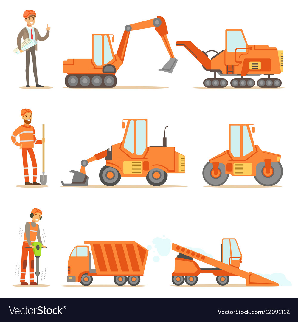 Smiling Road Construction And Repair Workers In vector image