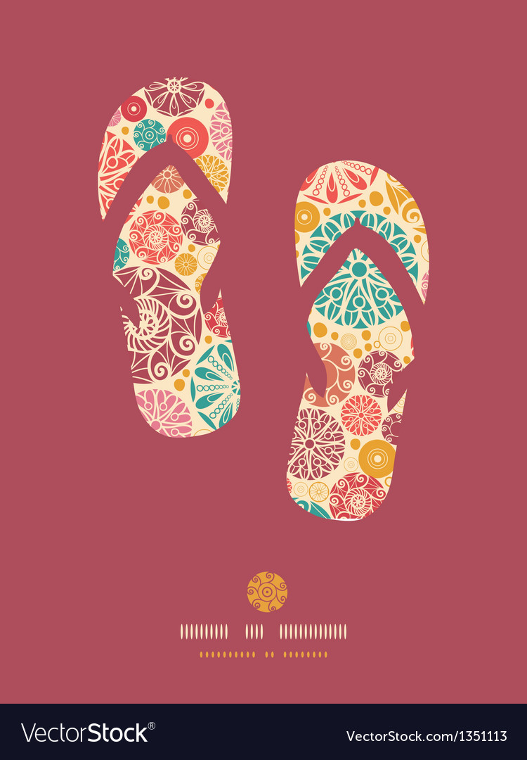 Abstract decorative circles flip flops pattern vector image