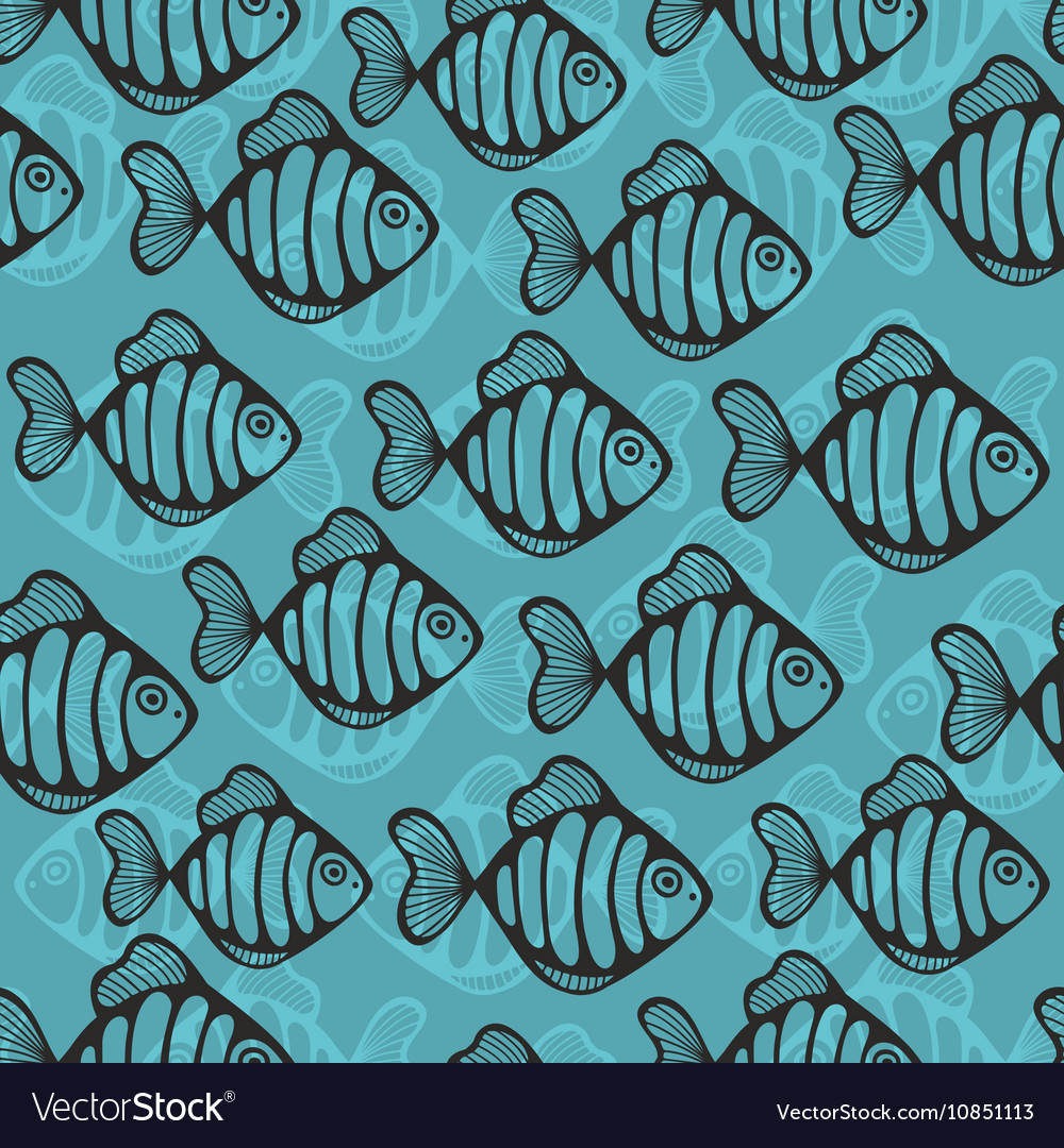 Colorful seamless pattern with cute fish vector image