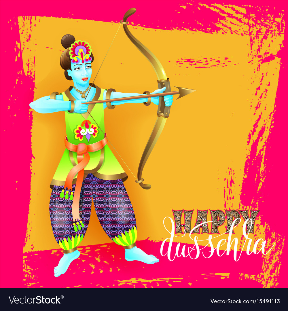 Happy dussehra greeting card design with the god vector image kristyandbryce Images