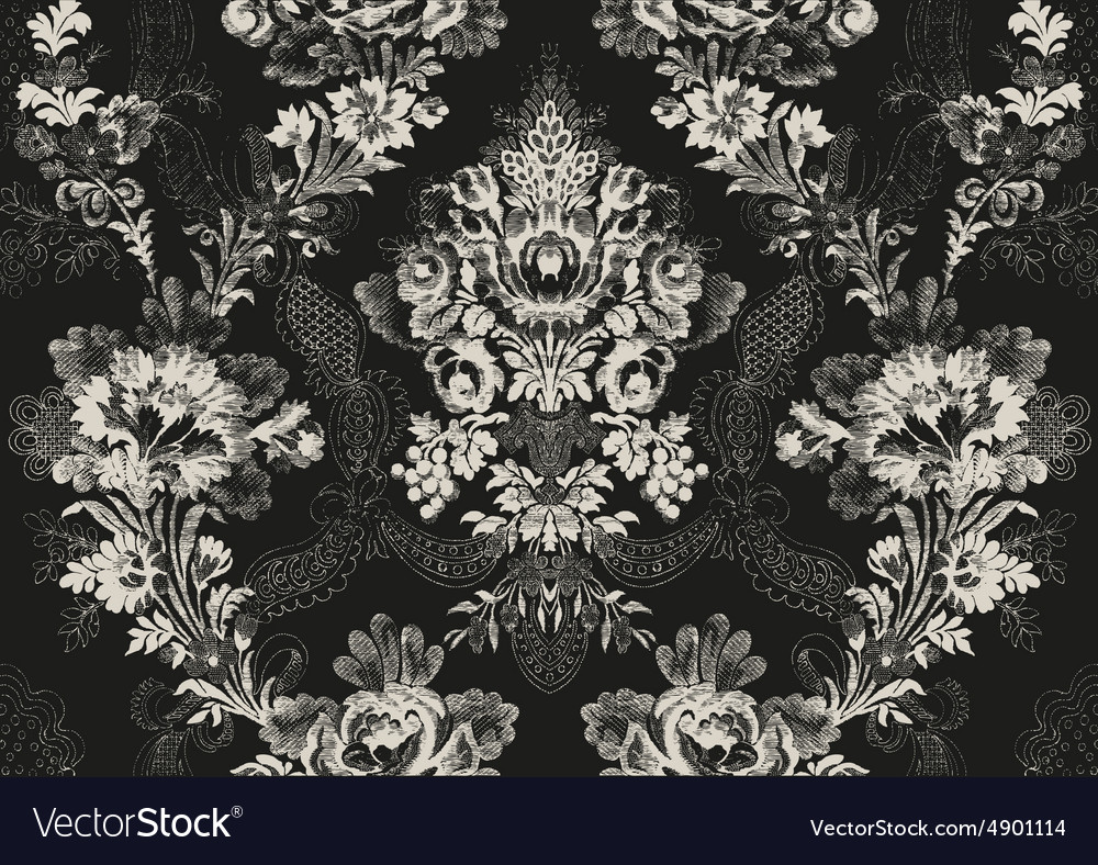 18 Abstract hand-drawn floral seamless pattern vector image