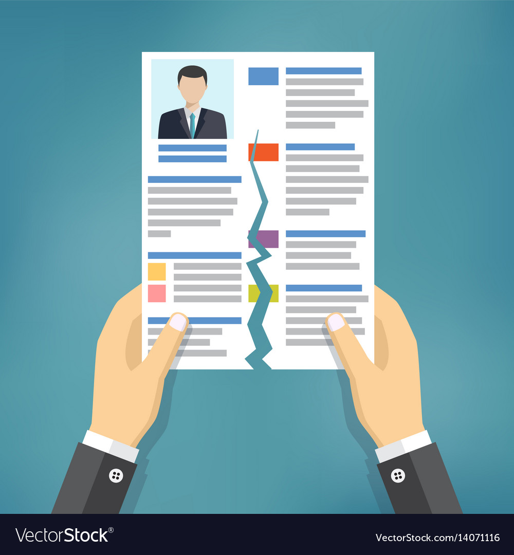 Hands holding ripped cv profile vector image