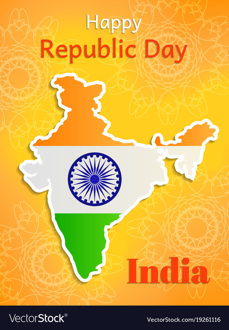 Republic day in india is a greeting card or vector image m4hsunfo Image collections