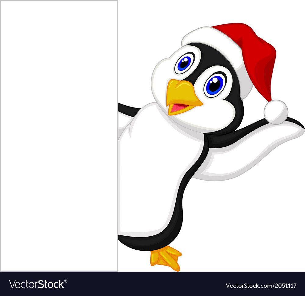 Cute penguin cartoon with red hat waving vector image