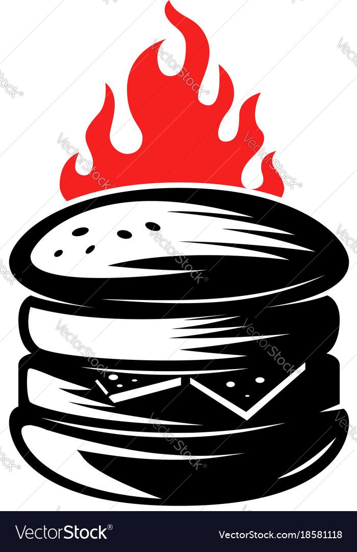 Burger on white background vector image