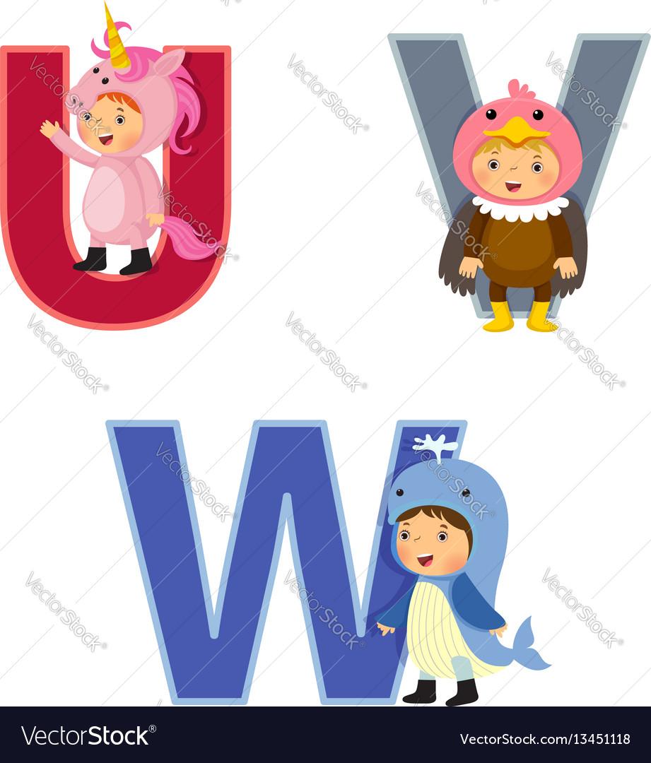 English alphabet with kids in animal costume u-w vector image