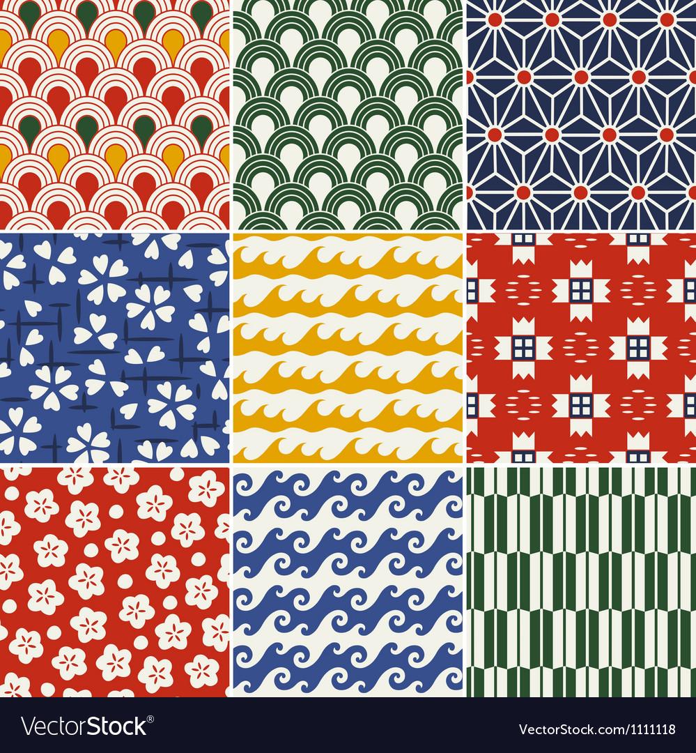 Seamless japanese style kimono pattern vector image