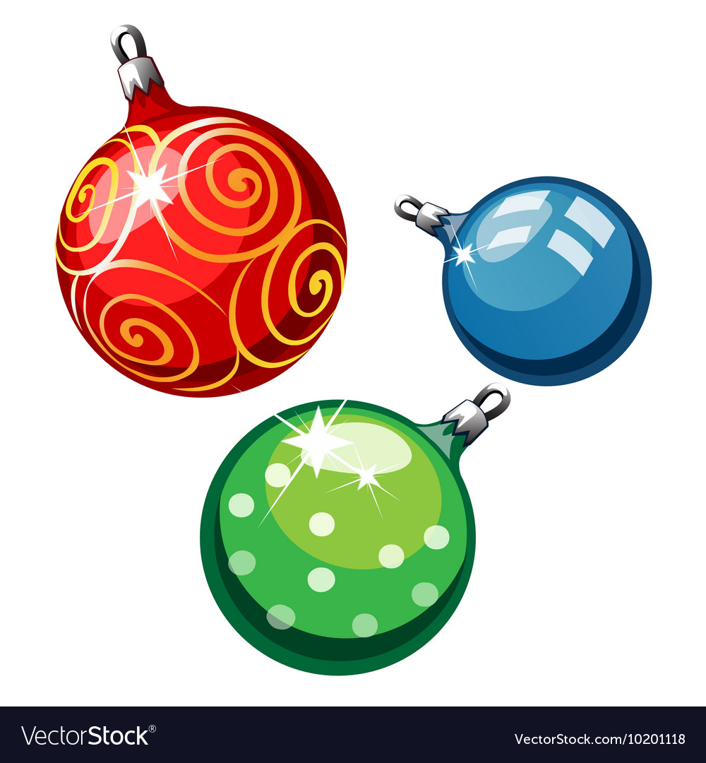 Three balls on Christmas tree red blue and green vector image