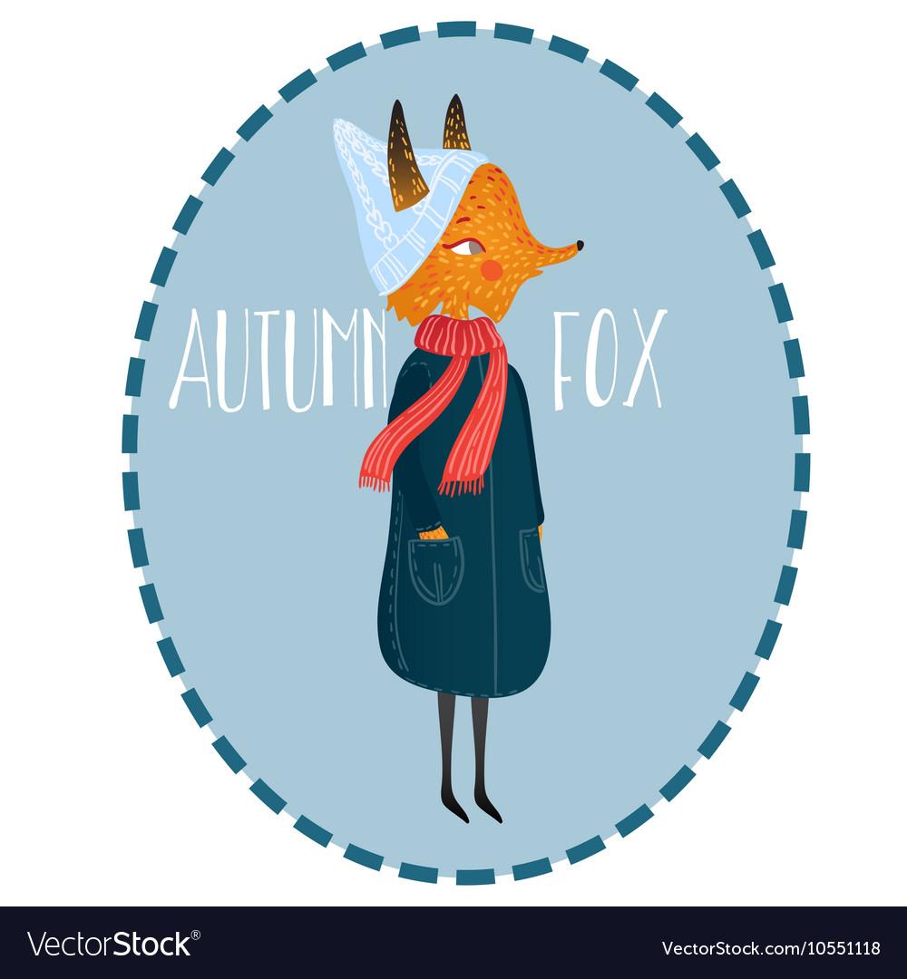Very cute autumn fox cute little vector image