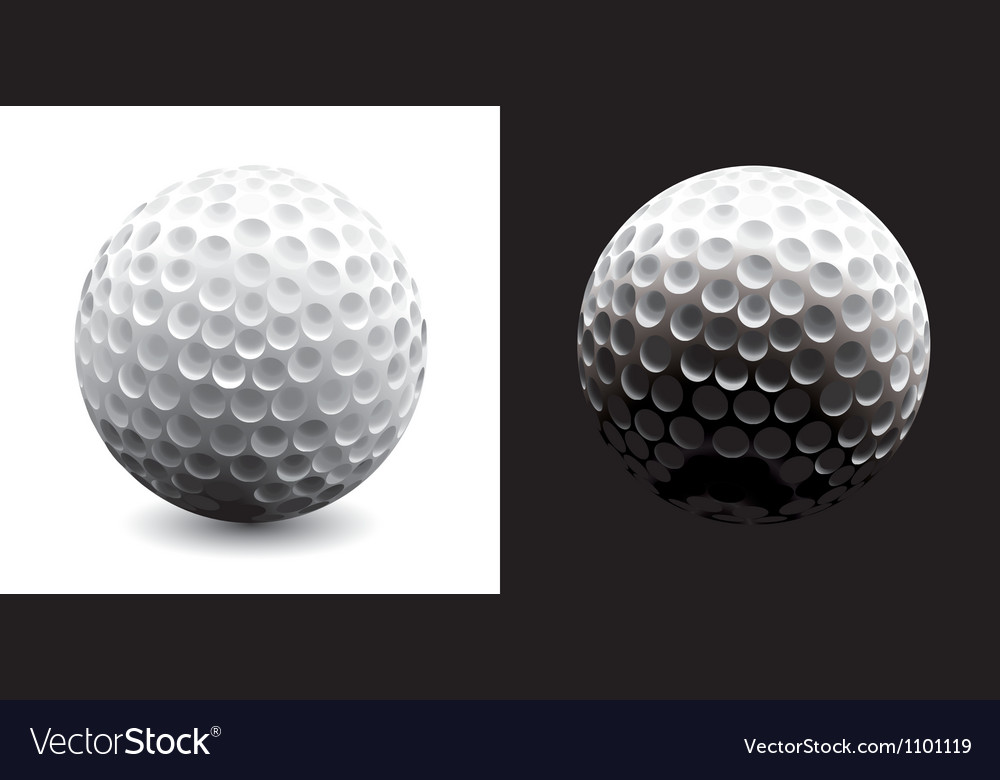 A close-up of a golf ball over dark background vector image