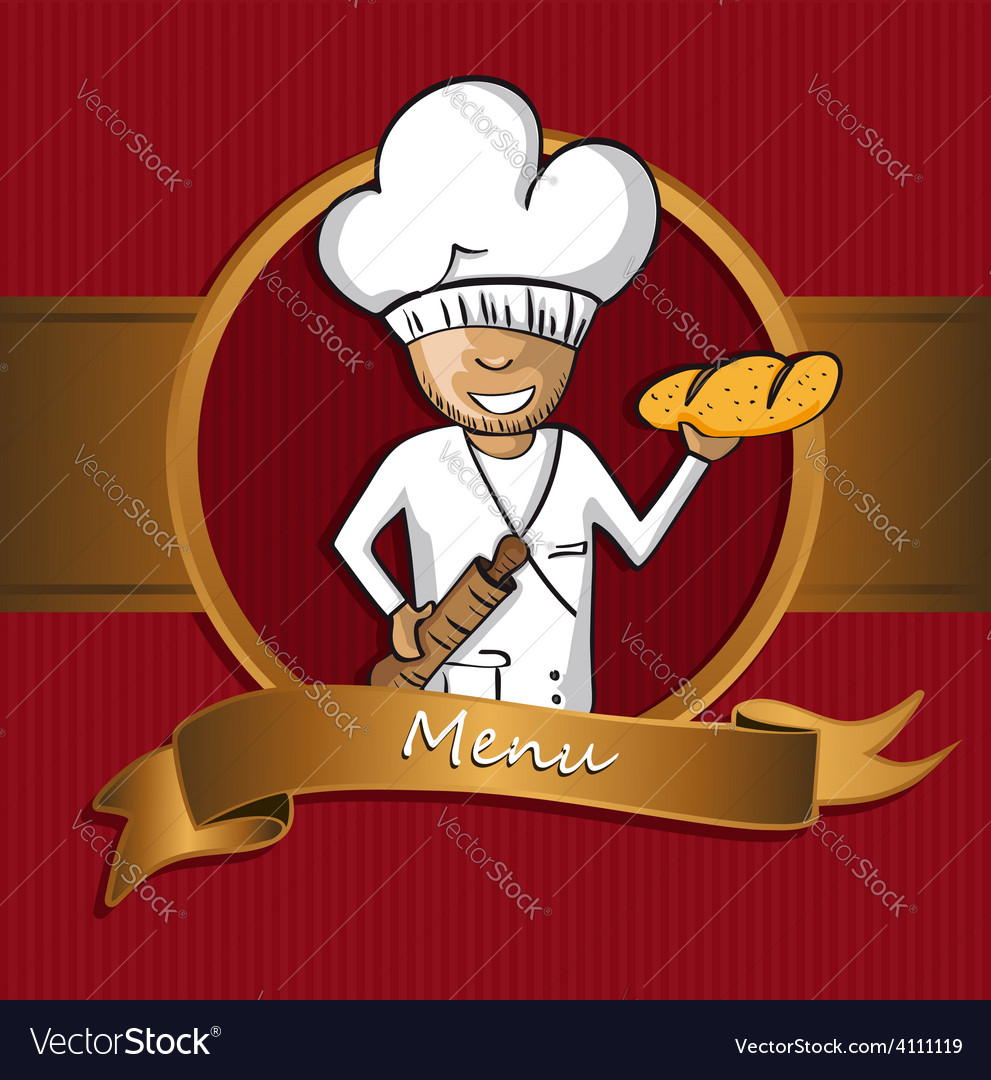 Baker chef cartoon badge menu design vector image