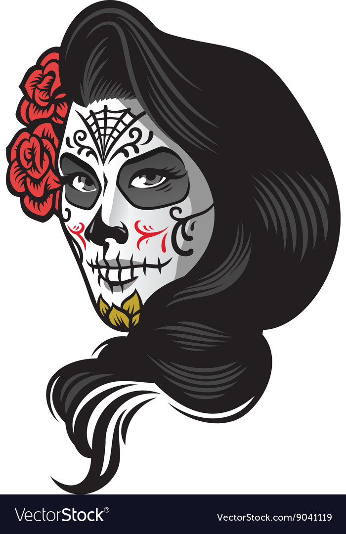Girl wearing day of the dead make up style vector image