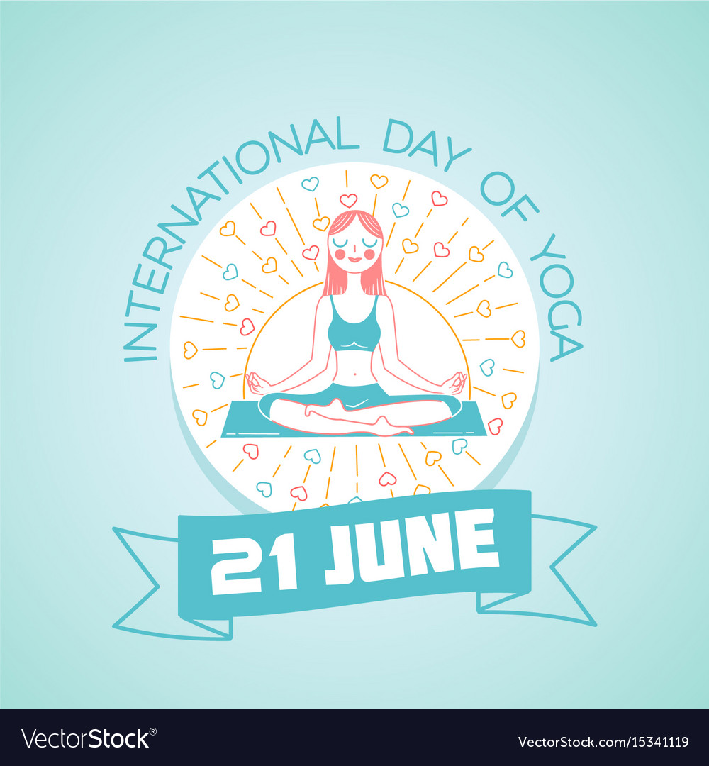 Greeting card day of yoga vector image