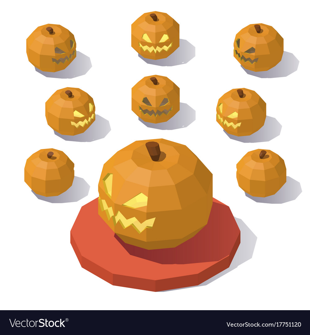 Low poly jack o lantern vector image