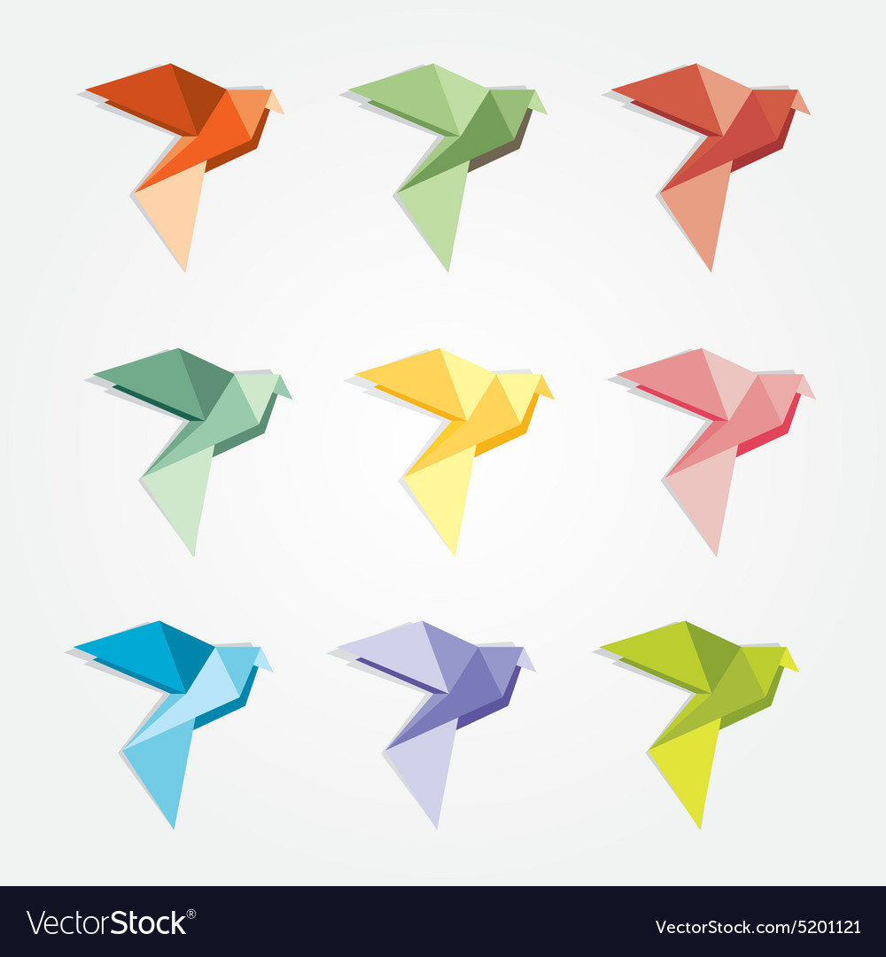3d origami low polygon birds royalty free vector image 3d origami low polygon birds vector image jeuxipadfo Gallery