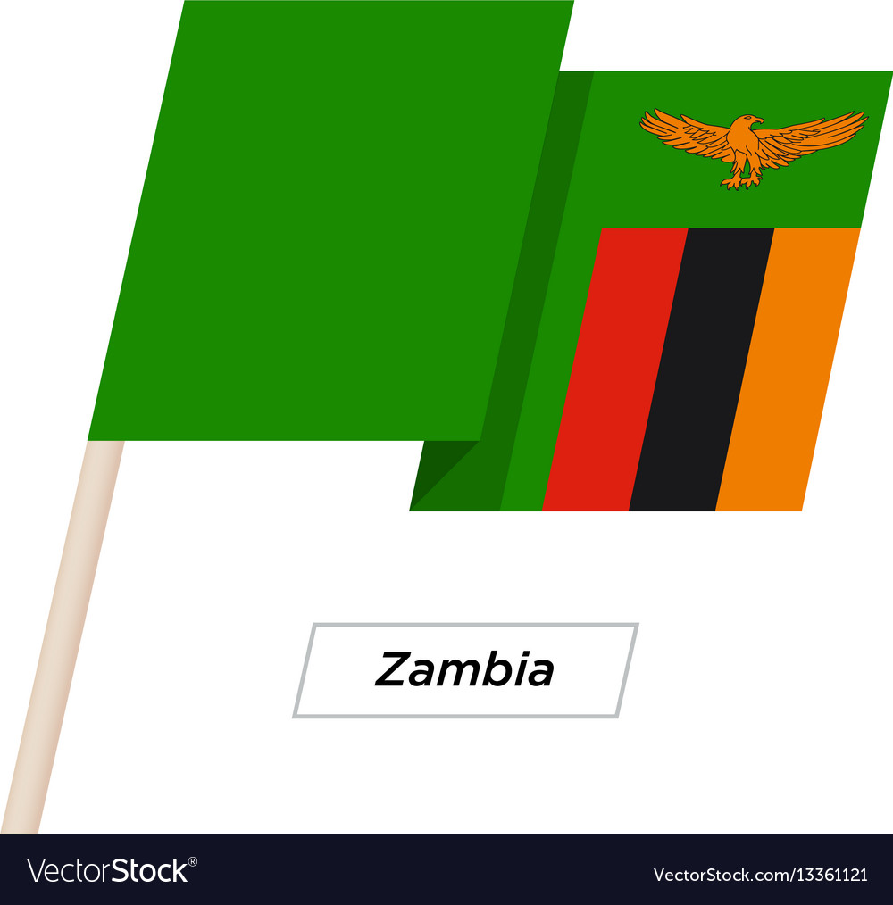 Zambia ribbon waving flag isolated on white vector image
