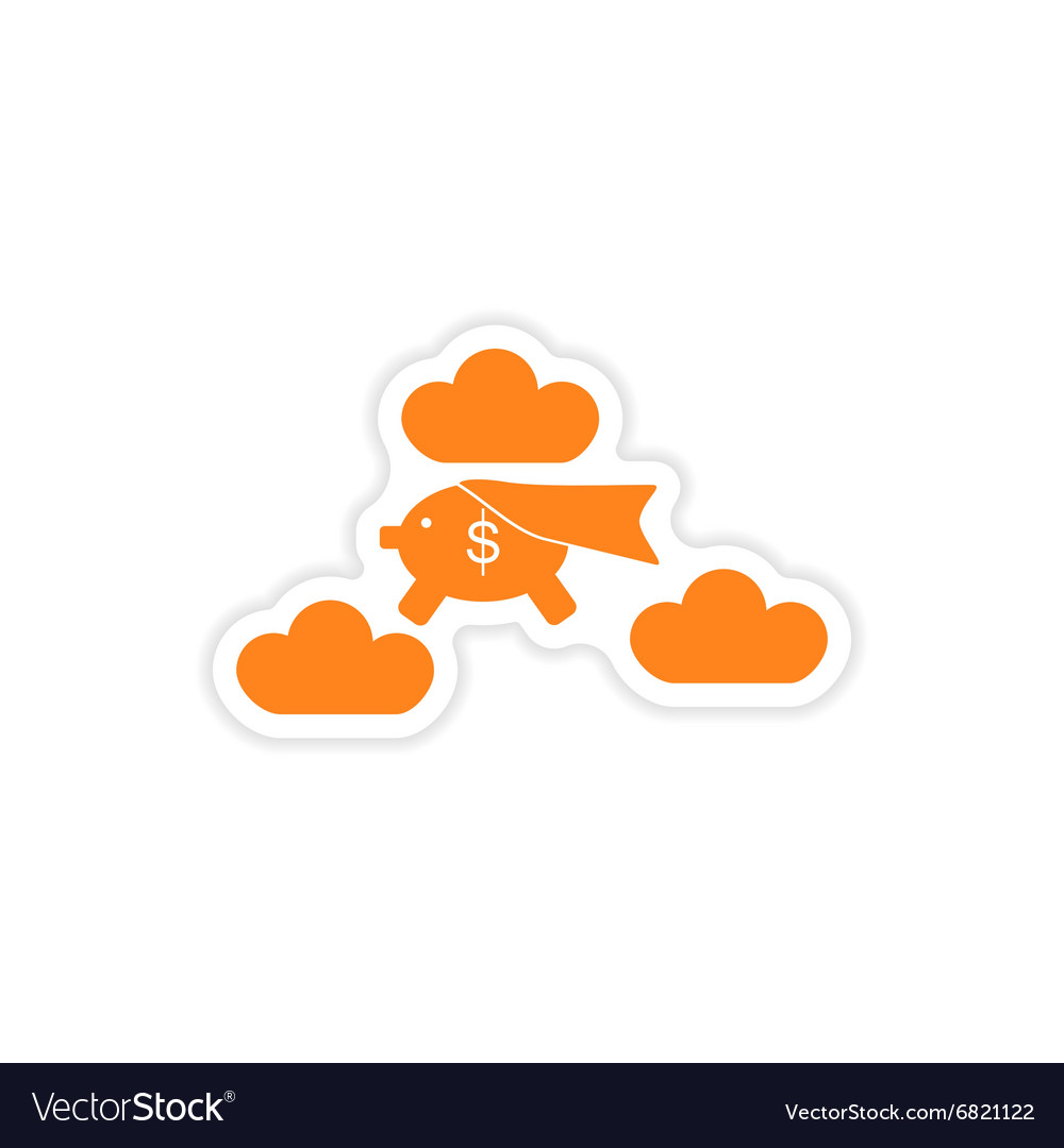 Stylish sticker on paper piggy bank in the clouds