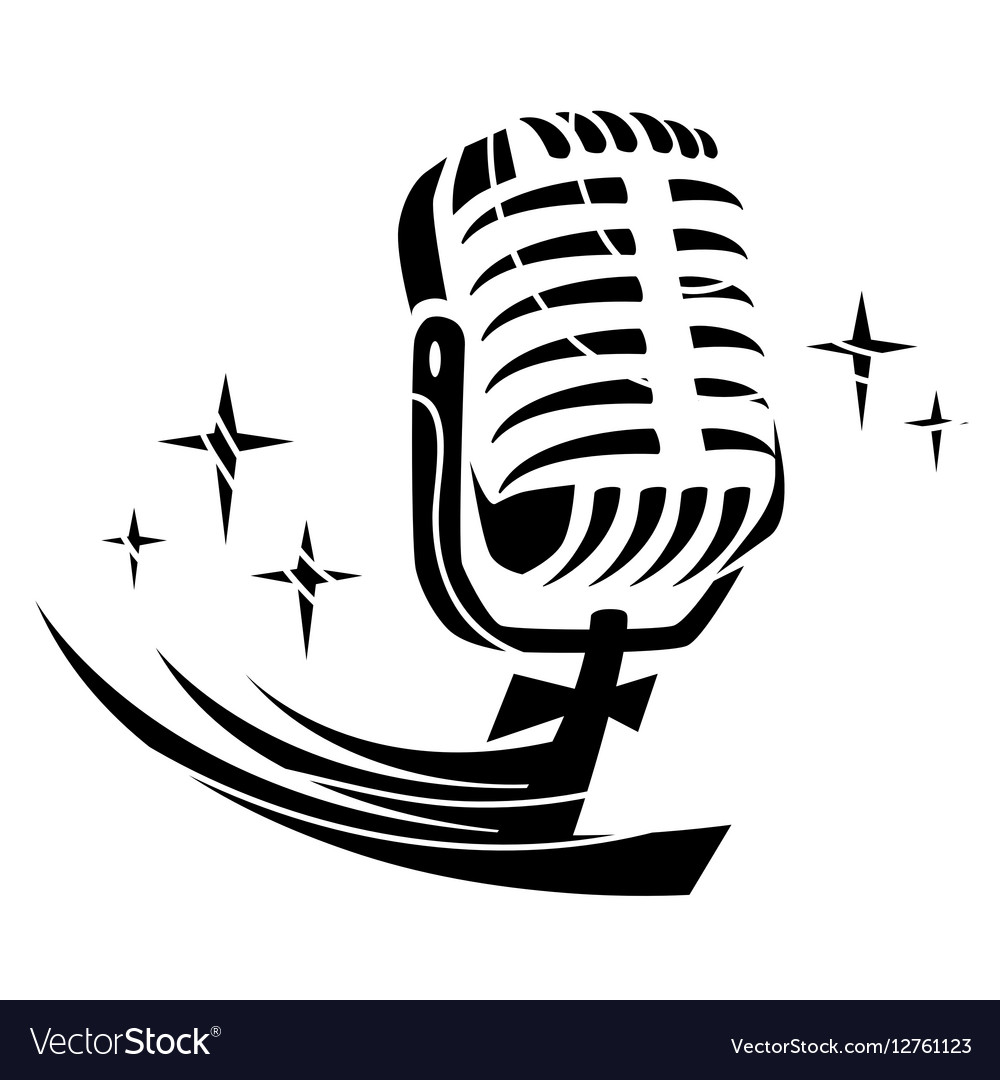 Black microphone Insulated vector image