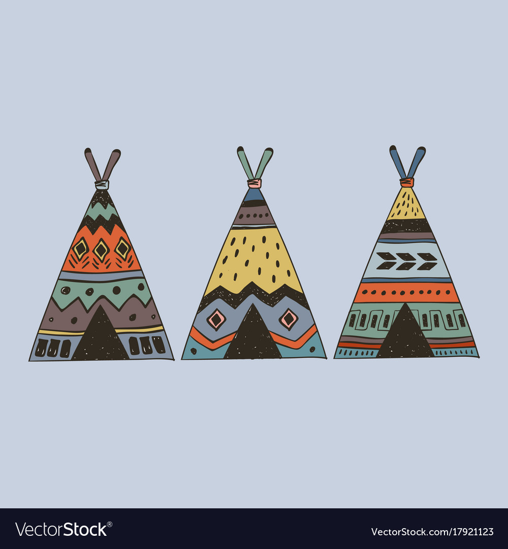 Boho collection with 3 wigwam vector image