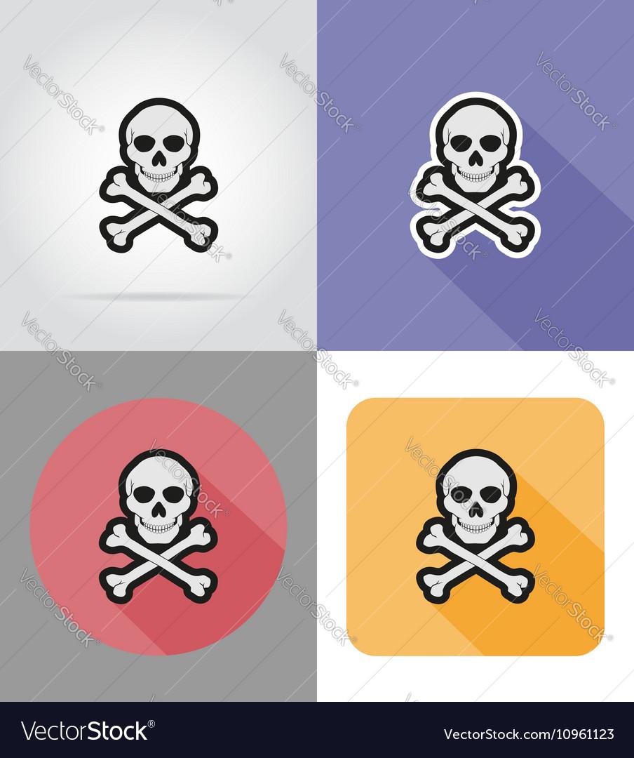 Halloween flat icons 16 vector image