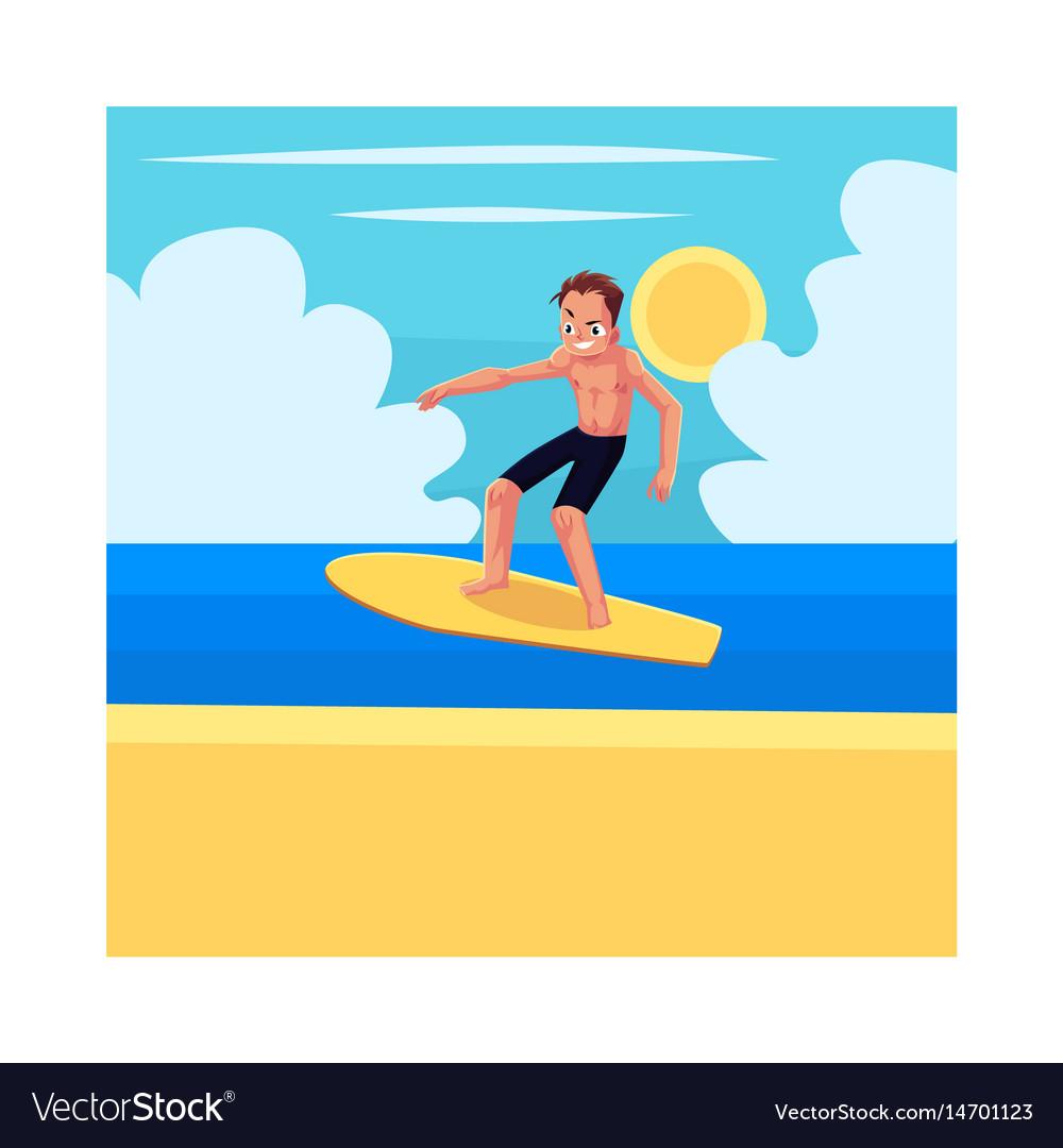 Young man riding surfboard enjoying summer water vector image