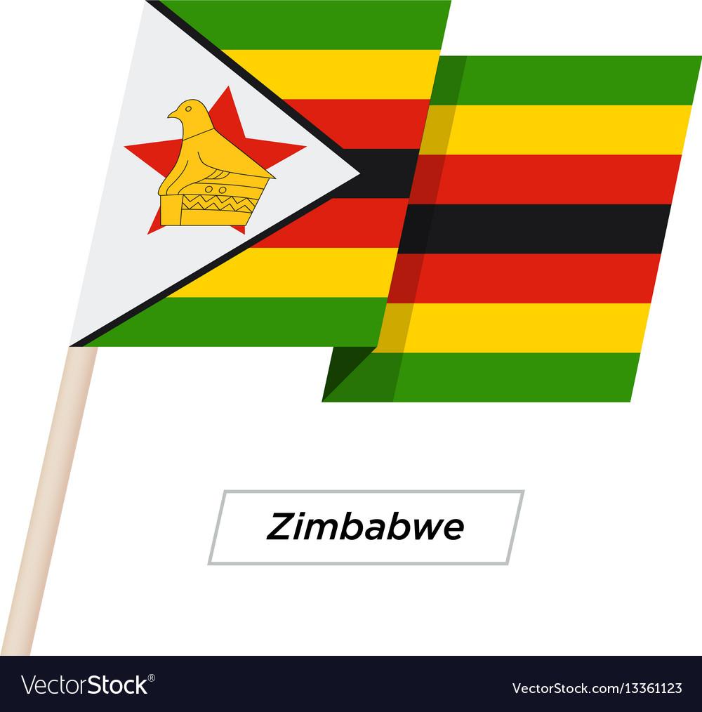 Zimbabwe ribbon waving flag isolated on white vector image