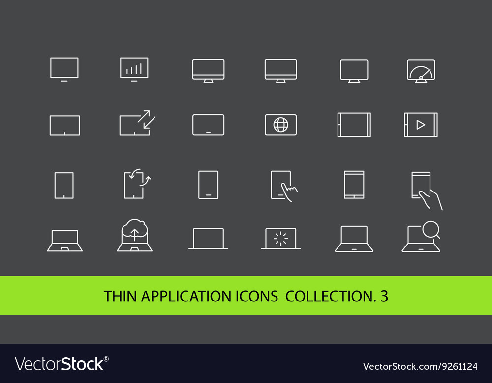 Modern gadgets pictograms collection Lineart vector image