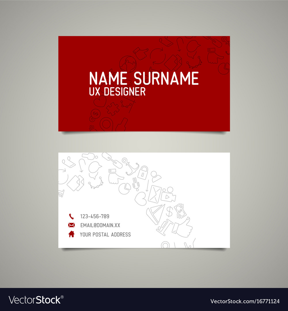 Modern simple business card template for ux vector image colourmoves