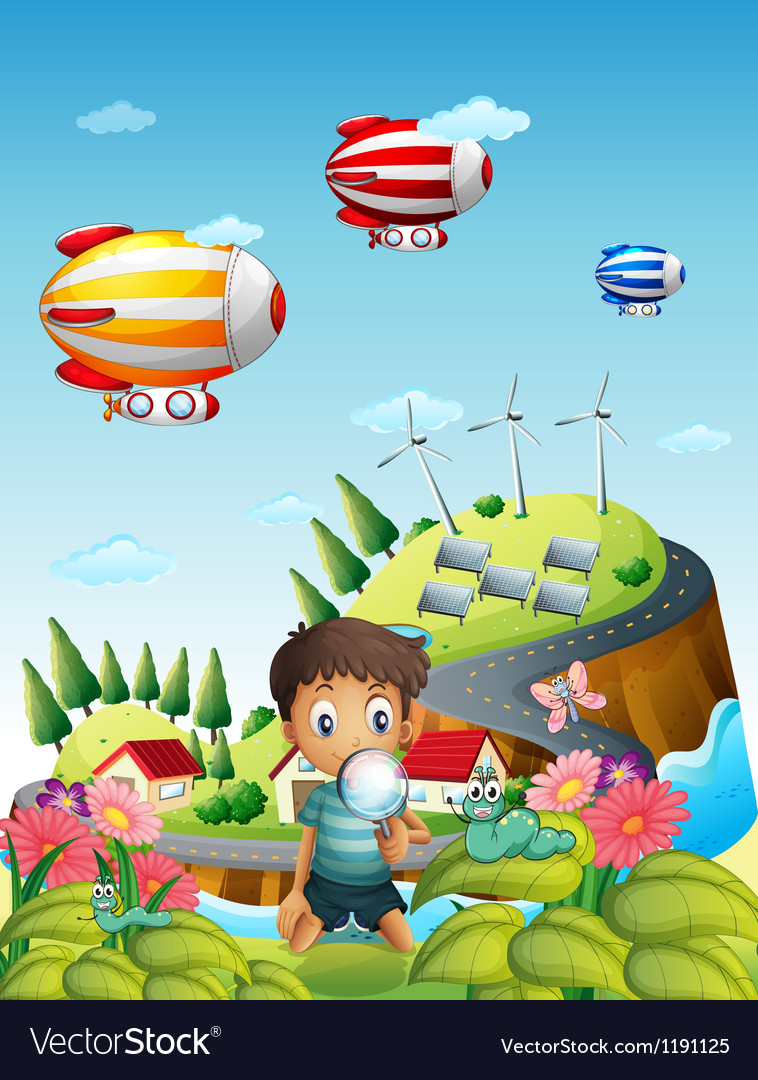 Airships a village and a boy in the garden vector image