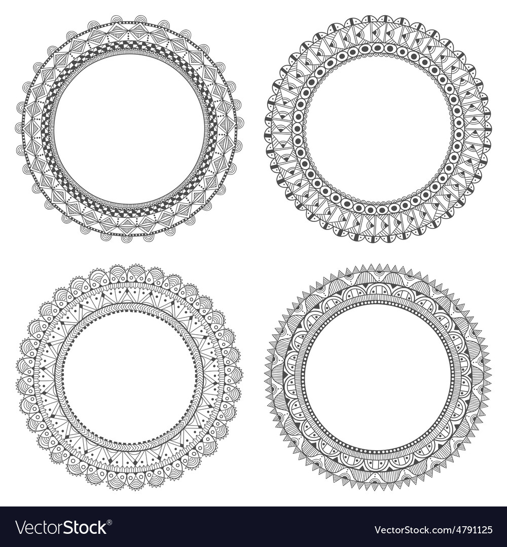 Decorative hand-drawn frames with space for text Vector Image