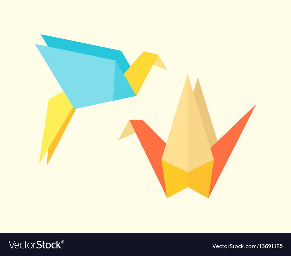 Origami birds crane abstract nature icon craft vector image