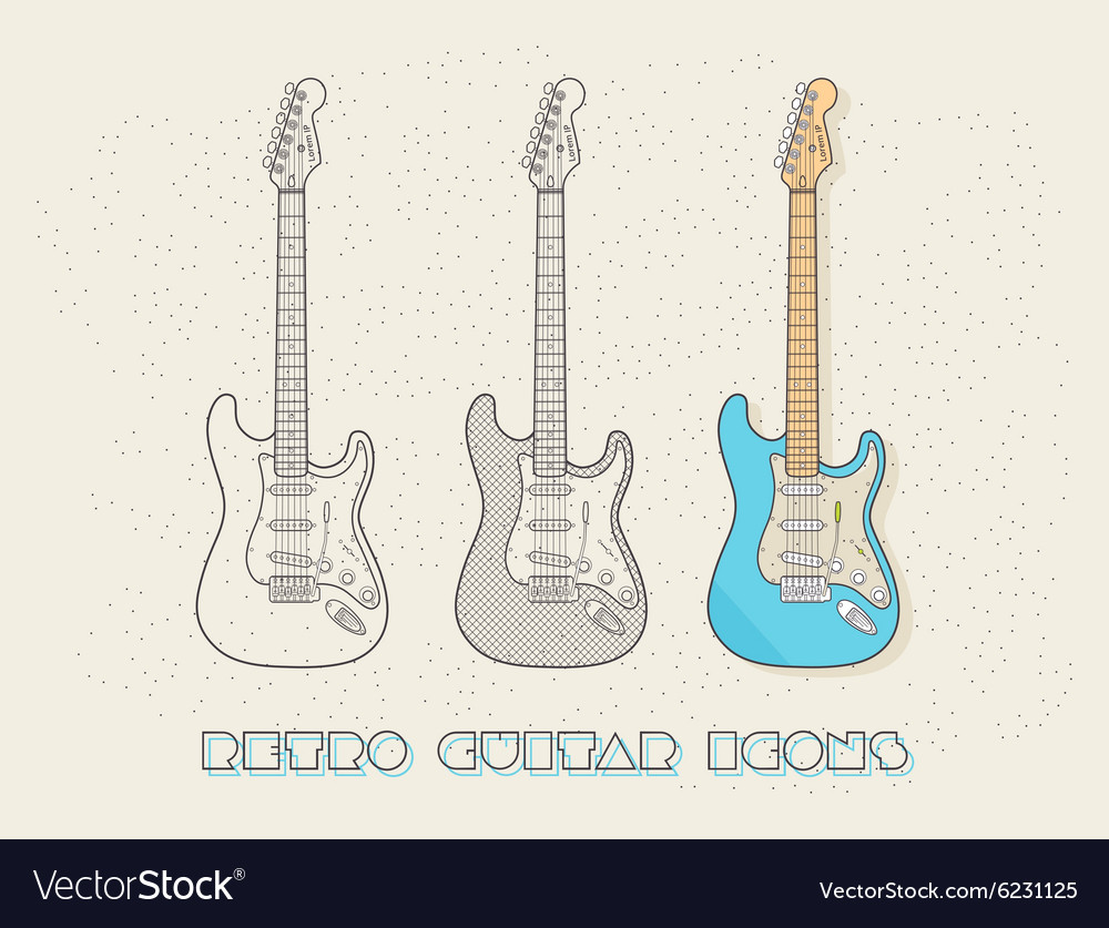 Retro wired design guitar icons vector image