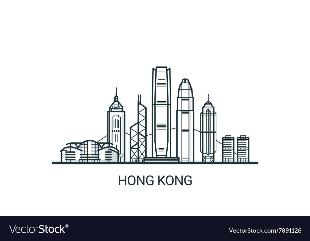 Outline Hong Kong banner vector image