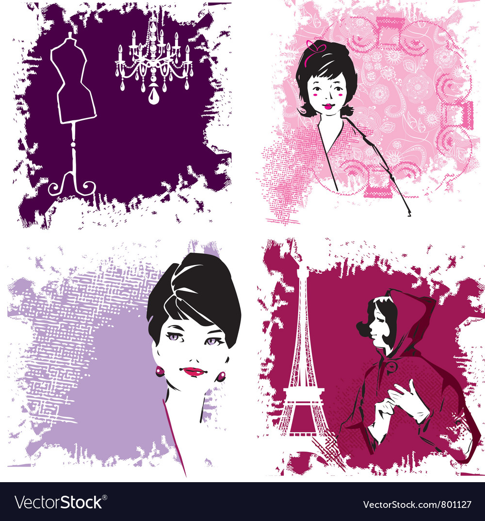 Retro fashion woman vector image