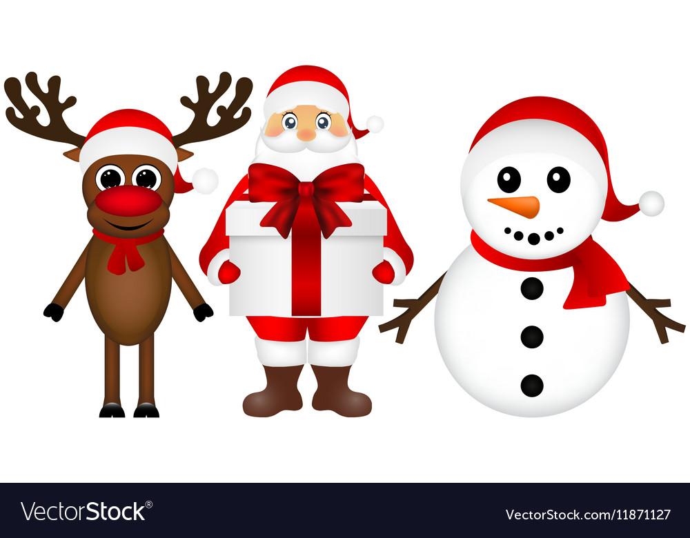 santa claus with snowman and reindeer cartoon a vector image - Snowman Santa