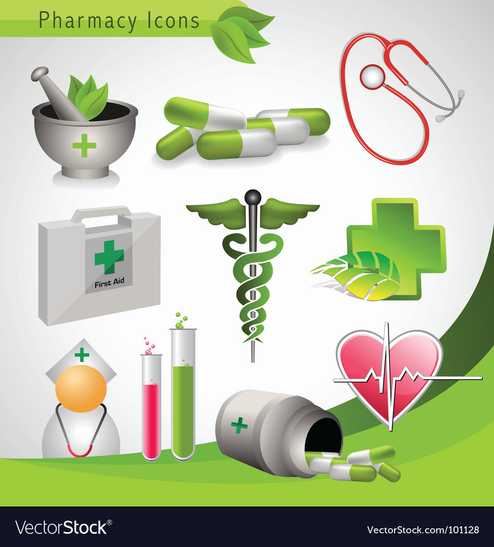 Pharmacy icons vector image