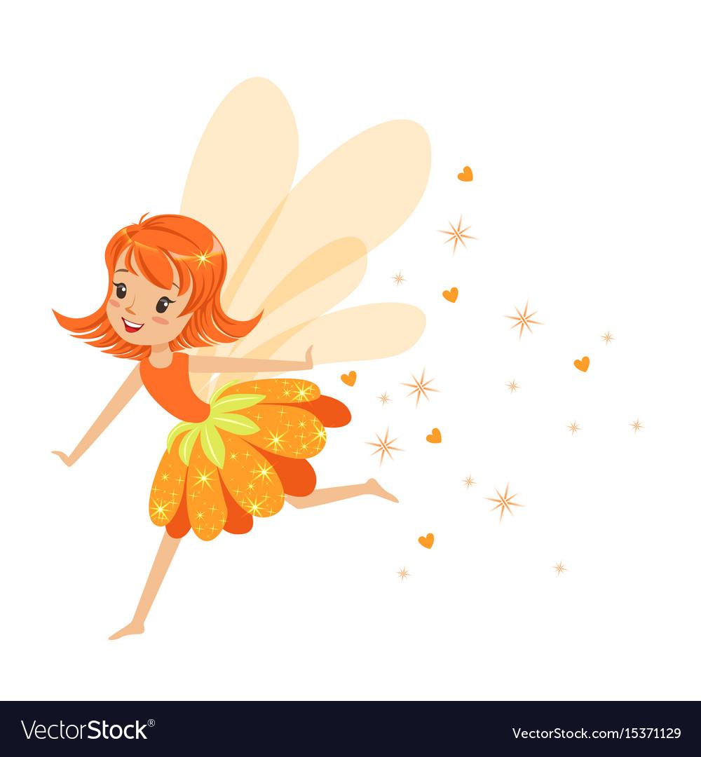Beautiful smiling orange fairy girl flying vector image