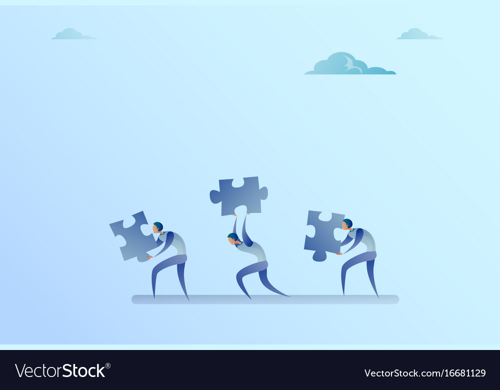 Group of business people carry puzzle parts vector image
