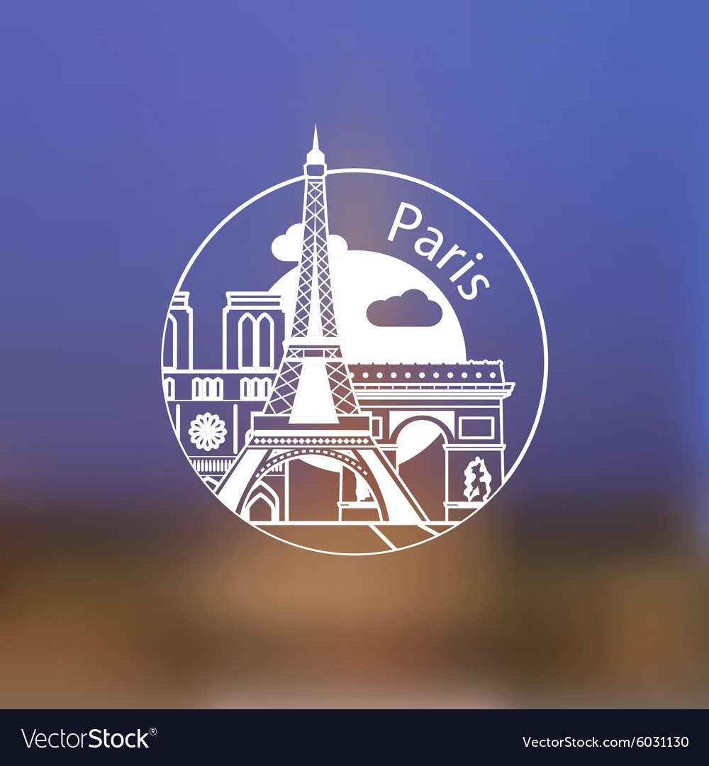 Minimalist round icon of Paris France Flat one vector image