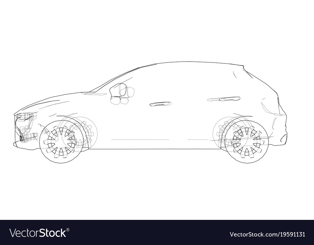 Line Drawing Car : Car outline drawing royalty free vector image vectorstock
