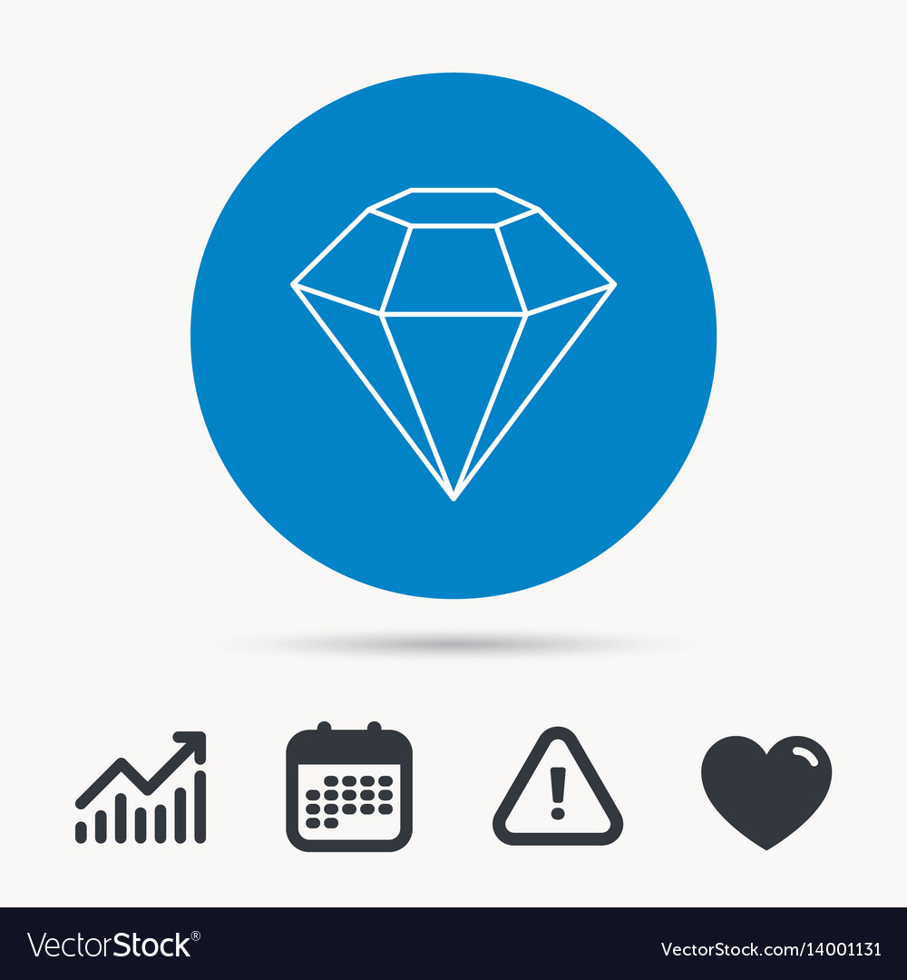 Diamond icon brilliant gemstone sign vector image