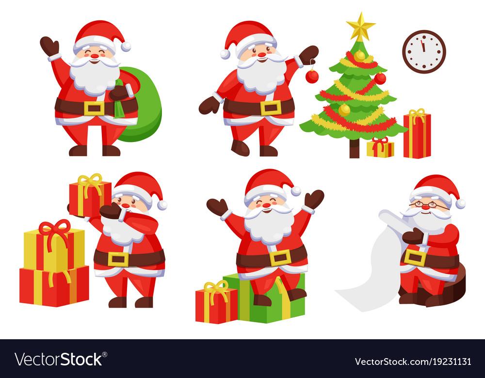 santa claus activities poster vector image - Santa Claus Activities