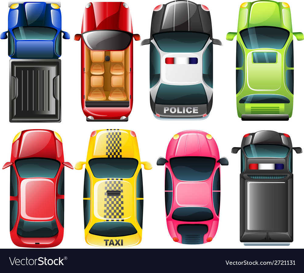Topview of the different type of vehicles vector image