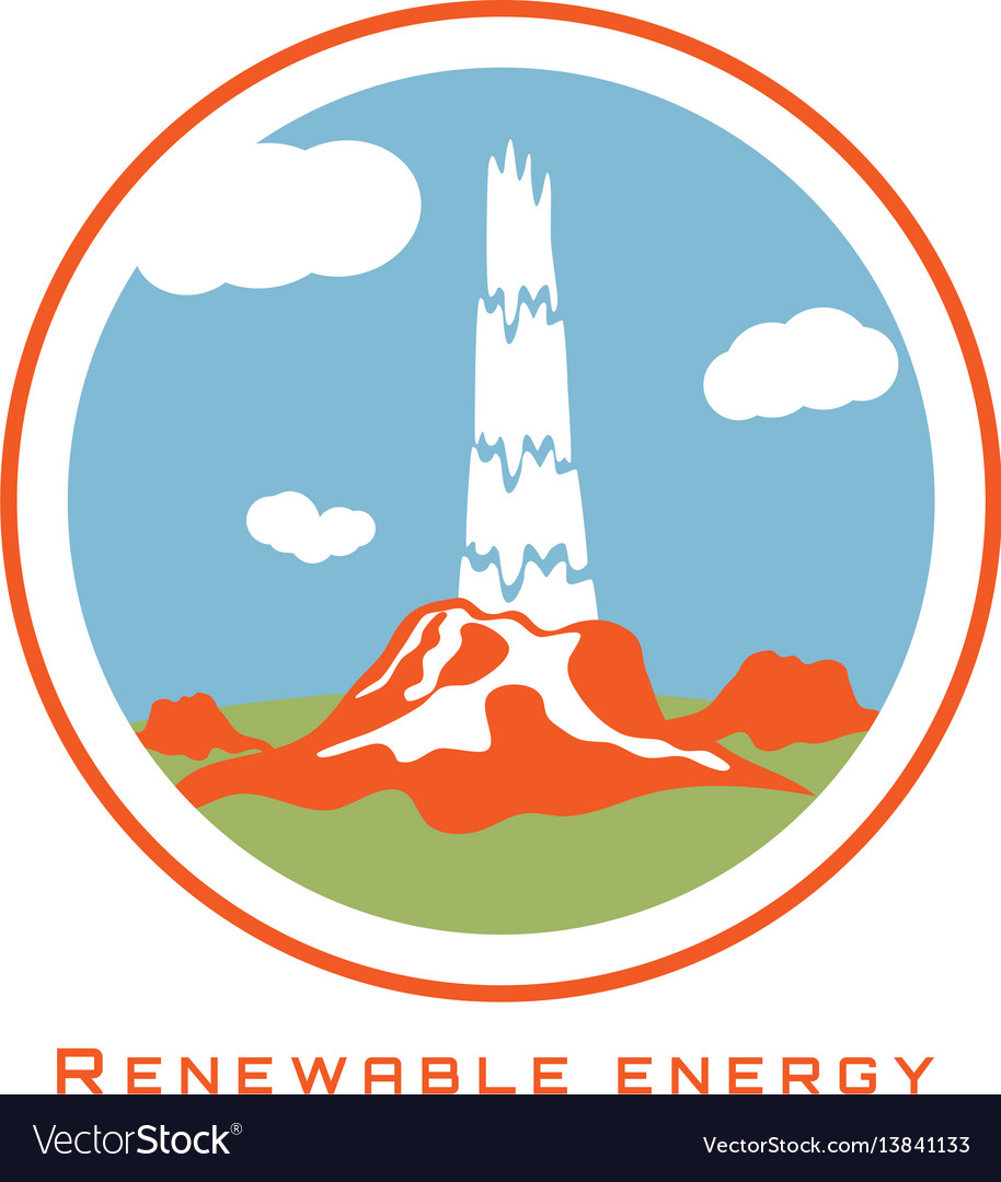 Renewable energy geothermal power vector image